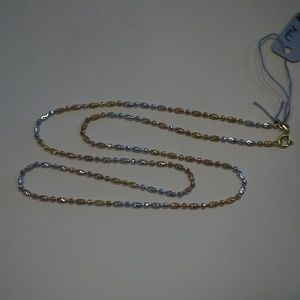 """Jewelry - .925 Sterling Silver 3 color 20"""" Beaded Necklace"""